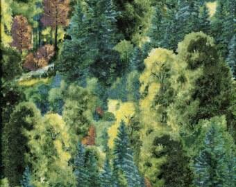 Tissu coton collage d'arbres, camaieu de verts,  pour patchwork et loisirs créatifs
