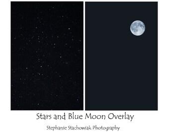 Moon Overlay, Stars Overlay, Blue Moon Overlay