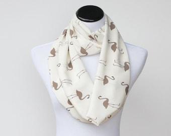 Cream Ivory Scarf Mother's day gift Flamingo bird infinity scarf ivory cream gray birds soft scarf feminine loop scarf snood scarf