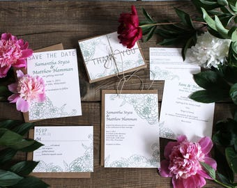 peony wedding invitation suite - 50 save the dates, invitations, response cards, reception cards, programs, thank you cards