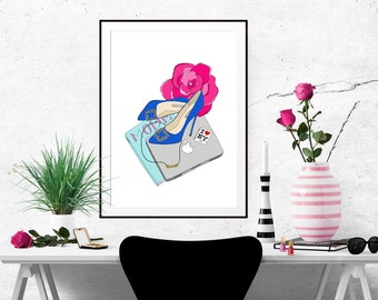 Carrie Bradshaw What's in my Bag Portrait Fashion Illustration Art Poster