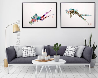 Diving posters set Diver wall art Sea Sport wall art Scuba Diver Art Print print Silhouette abstract drawings paintings Mixed media photos