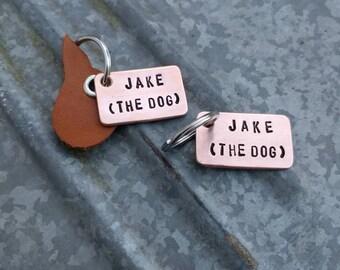 HANDMADE Op maat gemaakt hondenpenning - dogtag - IDtag van koper of aluminium met naam en telefoonnummer (aangepast aan lengte van de naam)
