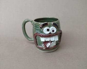 Slightly Crazy Gym Bro Face Mug. Big Man's Beer Mug 18 Oz Huge Pottery Coffee Cup. UgChugs by Nelson Studio.  Ceramic Stein Frosty Green.