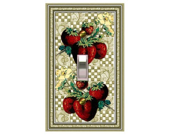 0636a - Strawberries on Quilt  - mrs butler switch plate covers -