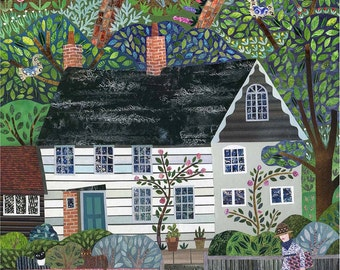 Virginia Woolf Greeting Card - Monk's House - Bloomsbury - National Trust - Collage - Fine Art Card - Vanessa Bell - Cats - Cottage - Naive