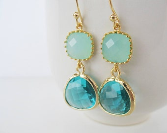 Mint and blue zircon earrings Mint blue earrings Turquoise earrings Chalcedony earrings teal earrings seafoam jewelry blue green earrings