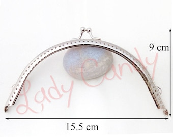 Clasp coin purse from 15.5 x H 7 cm silver #330019