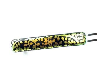 French Clip Hair Barrette, Matte Metallic Gold Dichroic on Black, Leaf Pattern