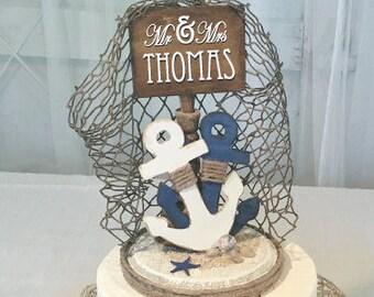 Nautical Cake Topper, Anchor Cake Topper, Nautical Party Decor, Anchor Party Decor, Wedding Cake Topper, Mr & Mrs Cake Topper