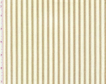 Berlin Driftwood, Magnolia Home Fashions - Ticking Stripe Cotton Upholstery Fabric By The Yard