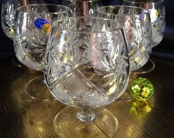 Crystal Glass Set of 6 Cognac Brandy Vodka  Whiskey 7 oz Snifter Glass Hand Cut  Neman Vintage European Design Crystal Glass