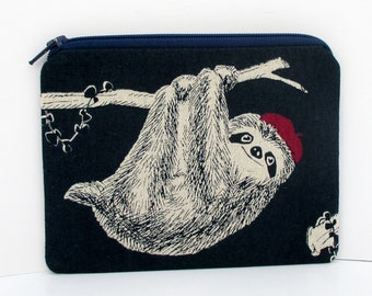 Sloth Zippered Pouch, Red Hat Sloth Bag, Navy Blue Linen, Small Coin Purse