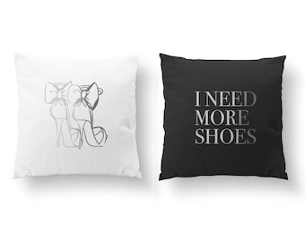 SET of 2 Pillows, High Heels Pillow, I Need More Shoes Pillow, Throw Pillow, Bedroom Pillow, Cushion Cover, Gold Decorative Pillow, Fashion