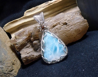 Light Blue Larimar Wire Wrapped Stone Silver Pendant