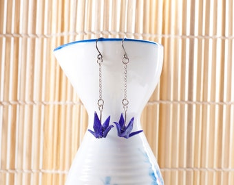 Origami earrings crane in purple paper on thin silver chain eco-friendly jewelry -Made to order