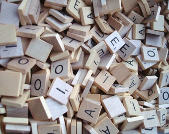 Lot of 100 SCRABBLE WOOD Letters arts crafts scrapbooking NEW set of wood letter tiles