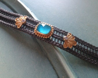 Handmade Byzantine sterling silver bracelet,Silver 925  Byzantine Bracelet.Doublet Turquoise stone.,Greek jewelry.Bracelet for Woman