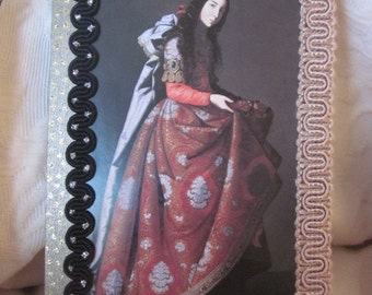 femme en rouge, collage, techniques mixtes, Tenture murale, vintage, boutons