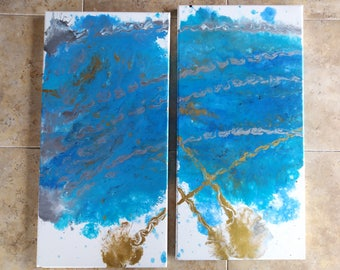 """2-10x20"""" Abstract Acrylic Painting"""