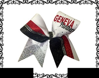 Personalized scattered rhinestone tail bow