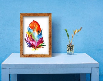 Feather Digital Print  Multicolor Feather Watercolor Painting Feather Art  Feather Digital Download Wall Decor  Home Decor  Instant Download