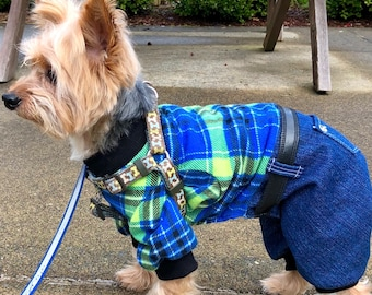 Dog Onesies, XS S M L - Blue Green Country Plaid Flannel top, denim bottoms, Pet Onesie Fashion Dog Clothes
