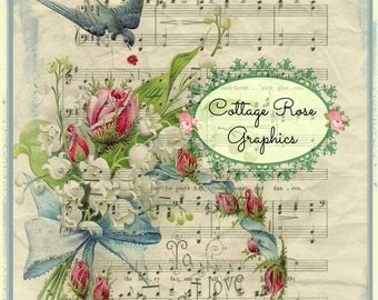 Bluebird Love Song vintage Valentine Large digital download ECS buy 3 get one free Pink ROSES romantic single image