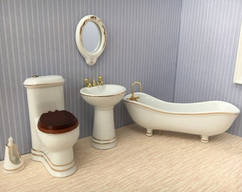 1:12 Scale dolls house porcelain bathroom set-6pcs