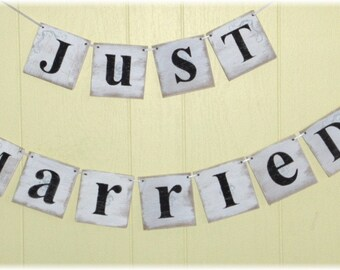 Just Married Wedding Banner Garland Shabby Chic White 4 x 4 Wood Tiles Two Piece Custom Colors Sign Photo Prop