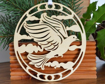 Dove ornament woodcut decoration woodcut dove ornament Two Turtle Doves ornament