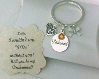 Bridesmaid Keyrings, Bridesmaid Proposal, Will You Be My Bridesmaid, Keychain, Charm Is Size Of Nickle