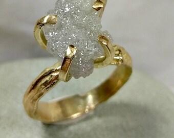 7 carat Raw diamond ring, engagement ring, 18 kt gold branch ring,Uncut diamond, Huge Rough diamond ring