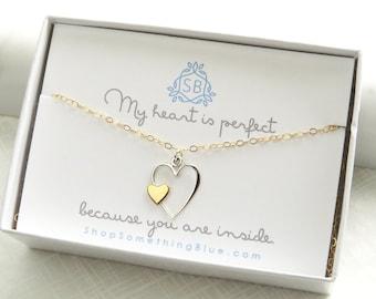 Liebe Geschenk • offenes Herzhalskette mit kleinem Herz Akzent • Liebe Halskette • liebste Geschenk • werden Mine Geschenk für sie