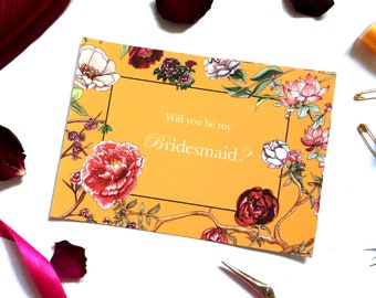 Will you be my Bridesmaid? Card Ochre Peony Pack
