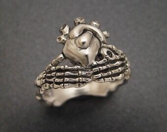 Sterling Skeletal Claddagh Ring