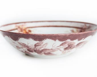 Hand Painted Artist Signed Porcelain Bowl ~ Vintage Serving Dish / Candy / Berry / Nut Bowl  ~ Center Piece ~ Country Mountain Home Decor
