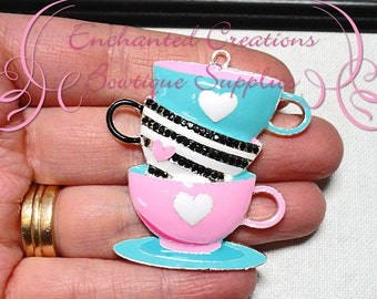 """2""""  Alice In Wonderland Topsy Turvy Teacup Inspired Chunky Pendant, Keychain,  Bookmark, Chunky Jewelry, Purse Charm"""