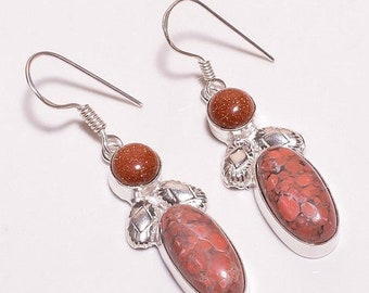 Red Howlite & Goldstone Silver Plated/Overlay Earrings  Jewelry