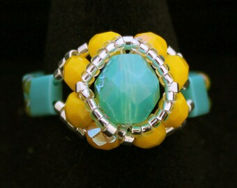 Czech Fire Polished Woven Ring in Turquoise and Yellow