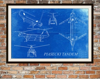 Blueprint Art of Piasecki Tandem Helicopter Technical Drawings Engineering Drawings Patent Blue Print Art Item 0060