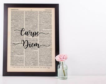 Carpe Diem Dictionary Art Print inspirational Motivational Sieze the Day Latin