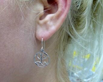 """1 initial earrings. silver monogram earrings. 0.6"""".  Personalized earrings. Personalized earrings. Monogram jewelry. Personalize jewelry"""
