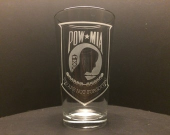 POW MIA Etched Glass