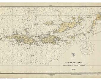 virgin gorda to st thomas 1921 nautical map virgin islands custom reprint ac harbors