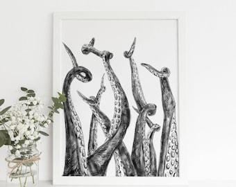 Octopus Tentacles, Nautical Decor, Black White, Octopus Illustration, Tentacle Wall Art, Octopus Art, Octopus Wall Decor, Downloadable Art