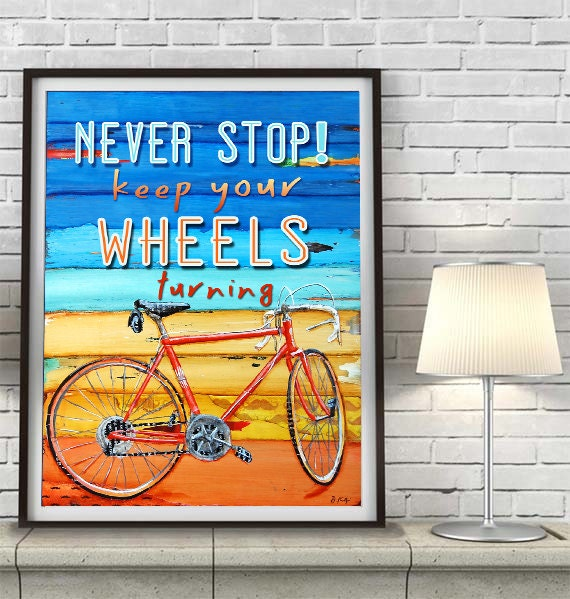 ART PRINT or CANVAS Biking bicycle bike vintage adventure handmade home decor summer wall art wedding gift poster painting, All Sizes