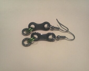 Reclaimed Bicycle Chain Earrings -Part 2 Bicycle Funky Earring Bike Gift Assorted Color
