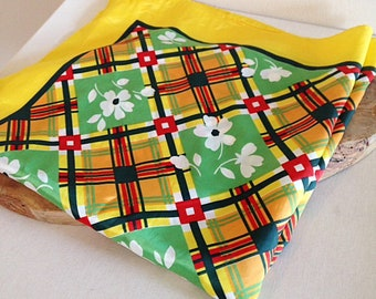 Vintage 1960s Floral Plaid Crazy Print Yellow Scarf