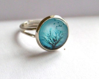 turquoise blue silver ring birds tree adjustable mint